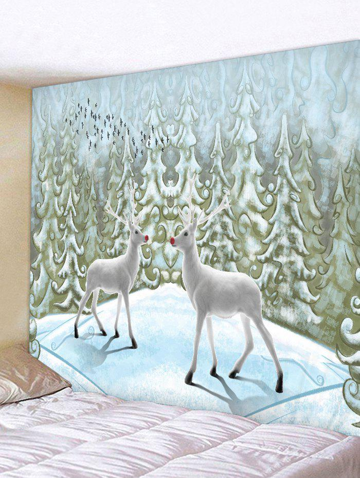 Fancy Elk Snow Pine Print Christmas Decor Tapestry