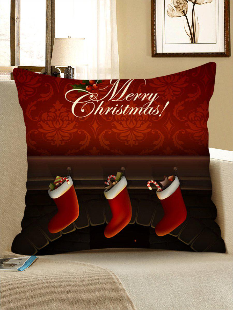 Discount Christmas Fireplace Stockings Print Pillow Case