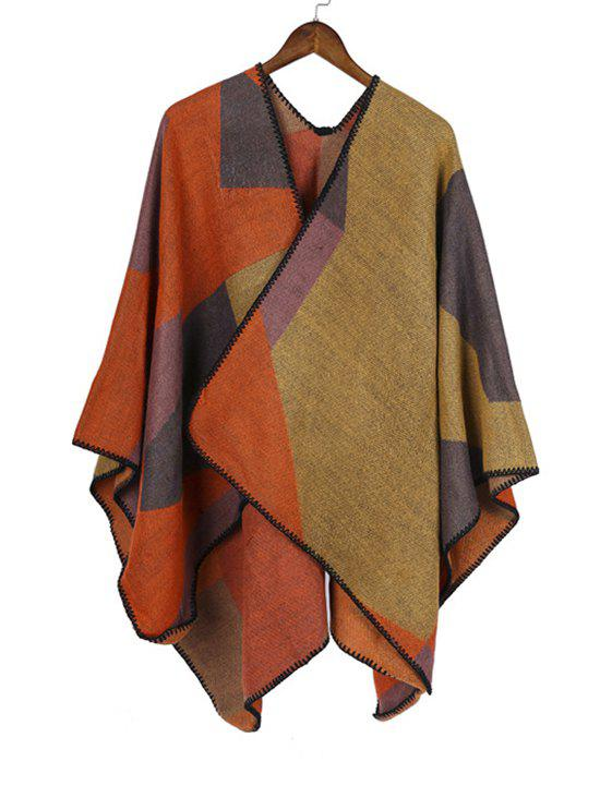 Shops Patchwork Geometric Open Front Poncho Cape