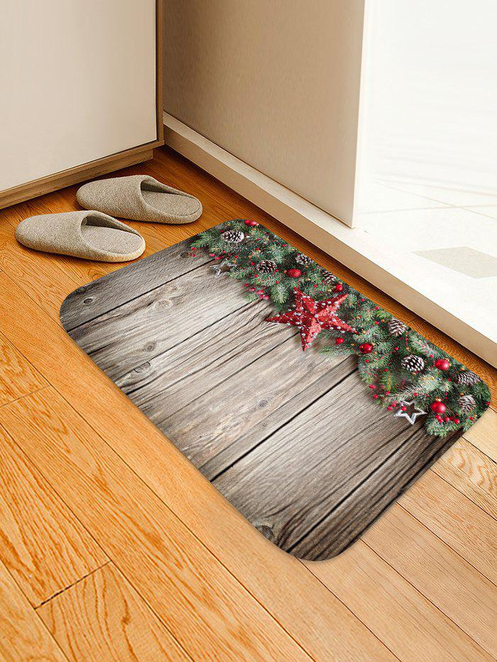 Fancy Christmas Pine Nuts Wood Grain Floor Rug