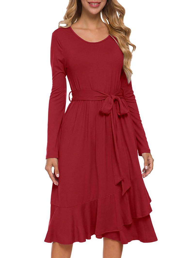 Sale Flounce Belted Long Sleeve Dress