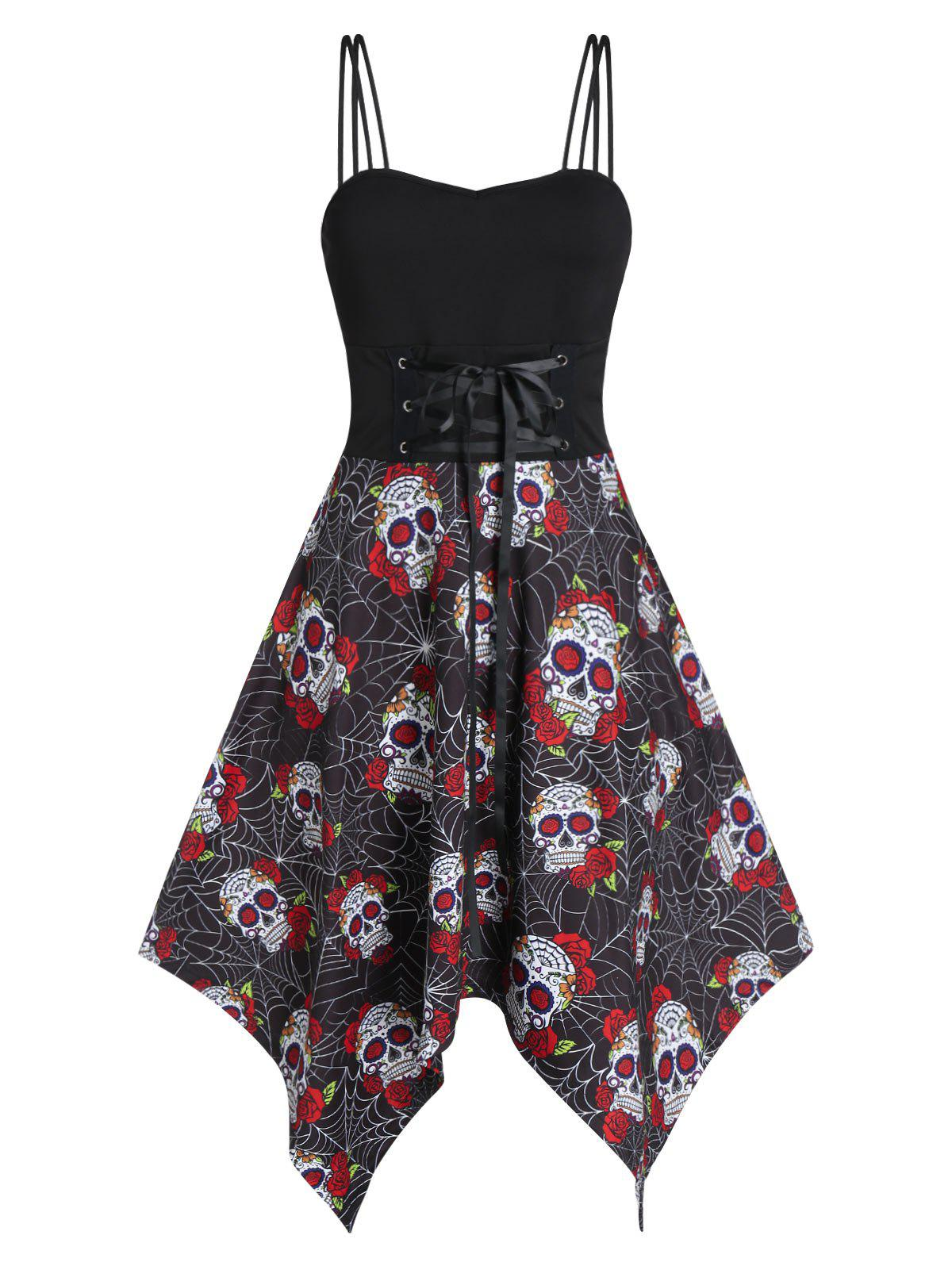 New Halloween Skull Floral Print Lace Up Hanky Hem Dress