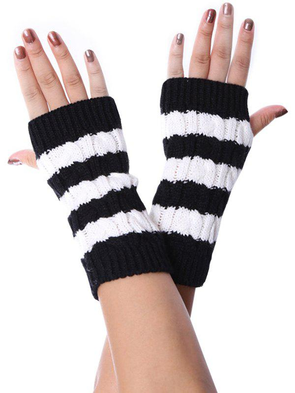 New Striped Pattern Fingerless Braid Knitted Gloves