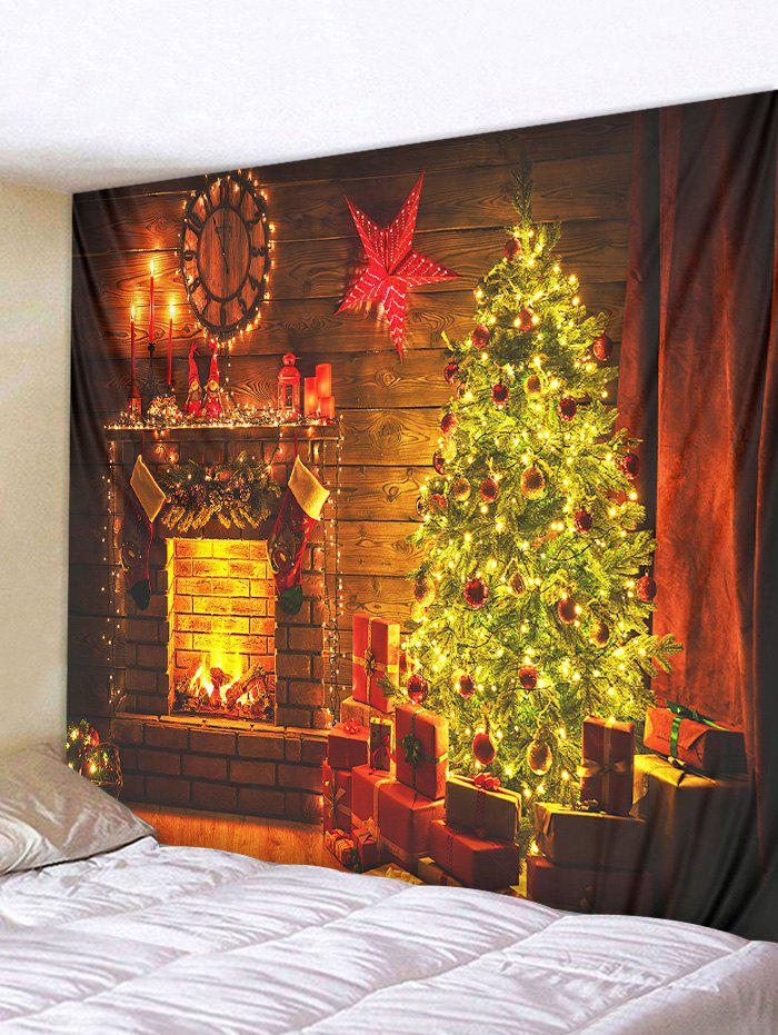 Outfits Christmas Tree Fireplace Pattern Print Hanging Tapestry