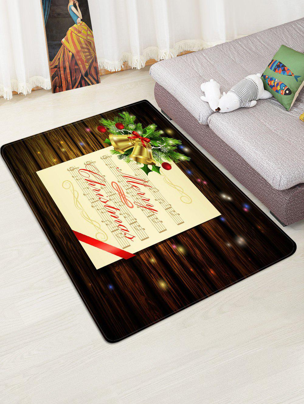 Discount Merry Christmas Music Note Print Non-slip Area Rug