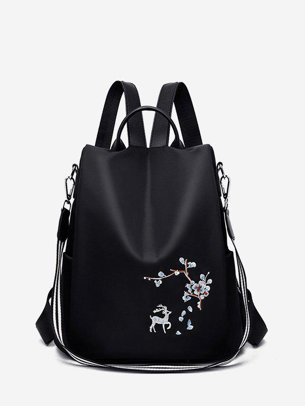 Outfits Floral Deer Embroidery Convertible College Backpack