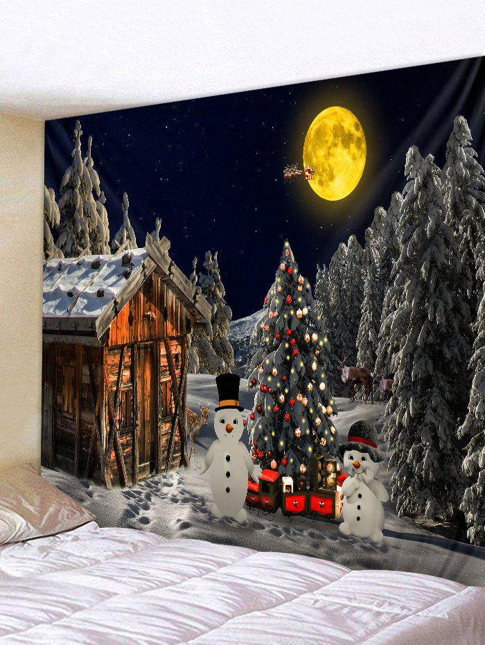 Store Christmas Tree Snowman Huts 3D Print Tapestry