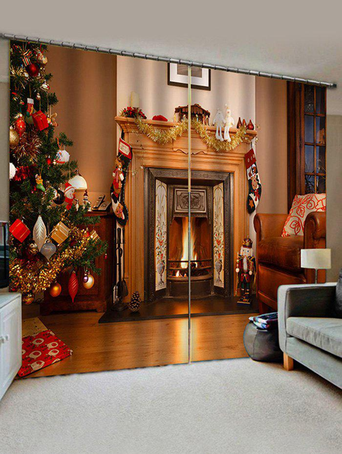 Online Christmas Tree Fireplace Pattern Window Curtains