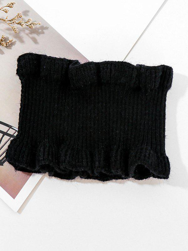 Sale Solid Ruffle Edge Knitted Round Neck Scarf