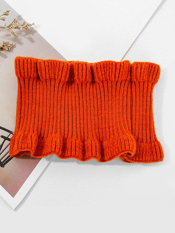 Chic Solid Ruffle Edge Knitted Round Neck Scarf