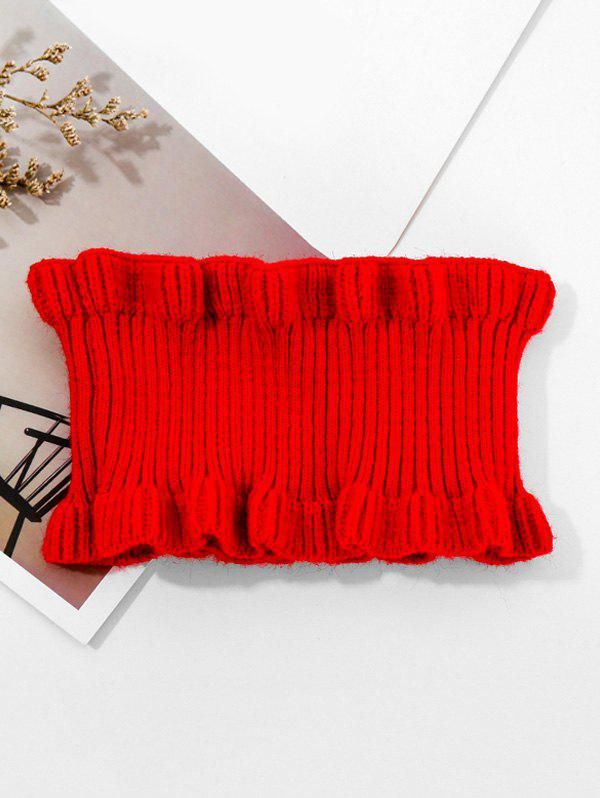 Fashion Solid Ruffle Edge Knitted Round Neck Scarf