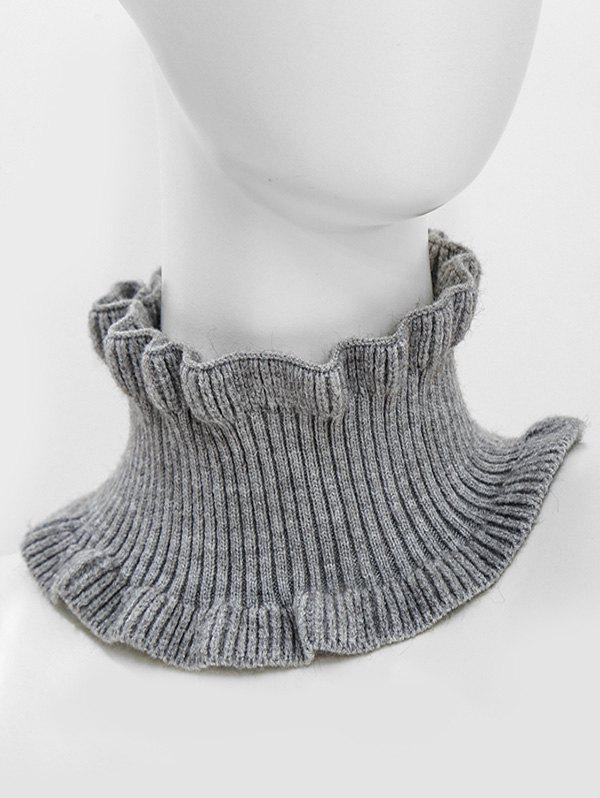 Discount Solid Ruffle Edge Knitted Round Neck Scarf