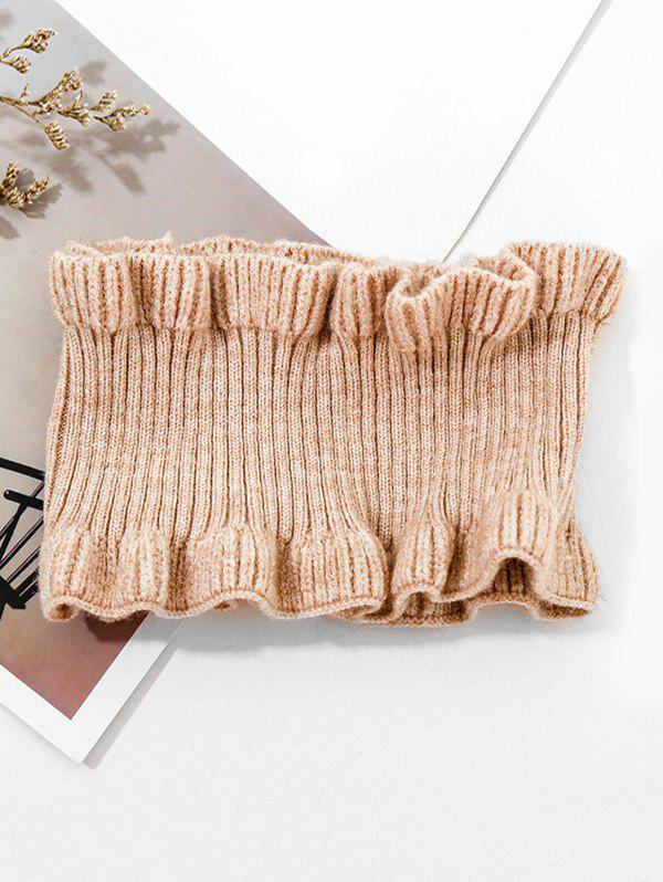 Best Solid Ruffle Edge Knitted Round Neck Scarf