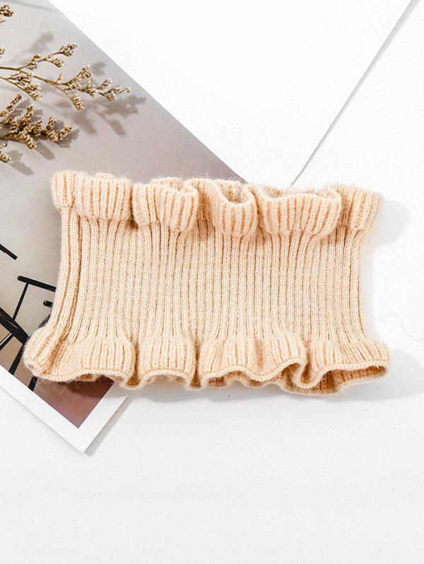 Latest Solid Ruffle Edge Knitted Round Neck Scarf