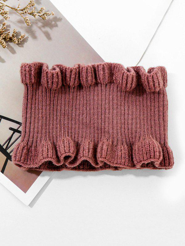 Trendy Solid Ruffle Edge Knitted Round Neck Scarf