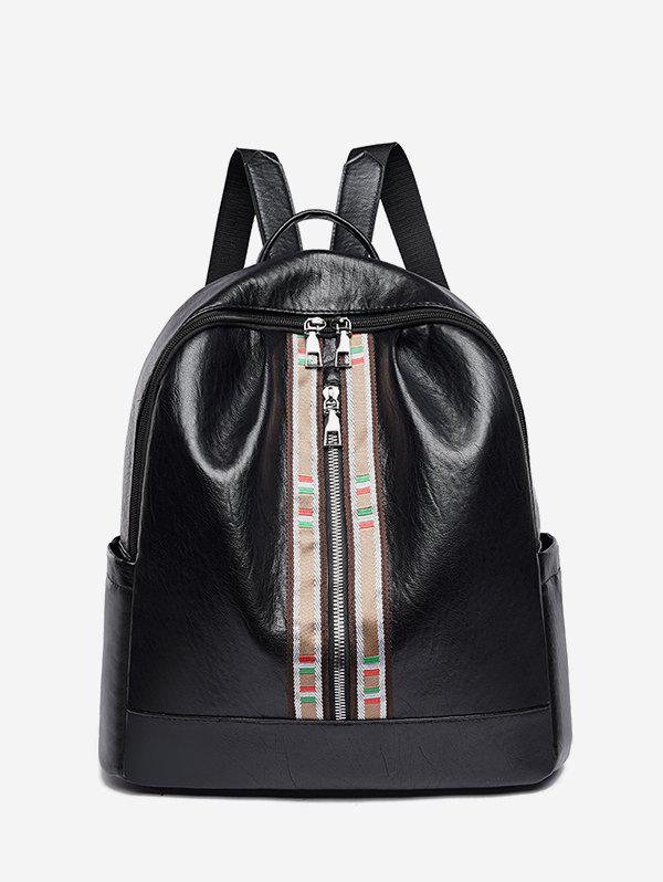 Unique Striped Accent Front Zip Backpack