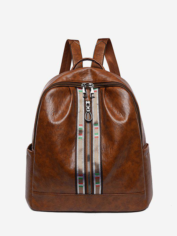 Cheap Striped Accent Front Zip Backpack