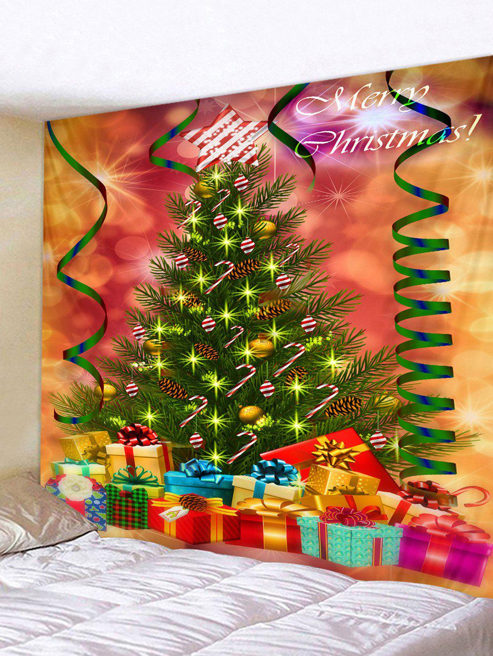 Online Christmas Tree and Gifts Printed Tapestry Wall Hanging Art Decoration