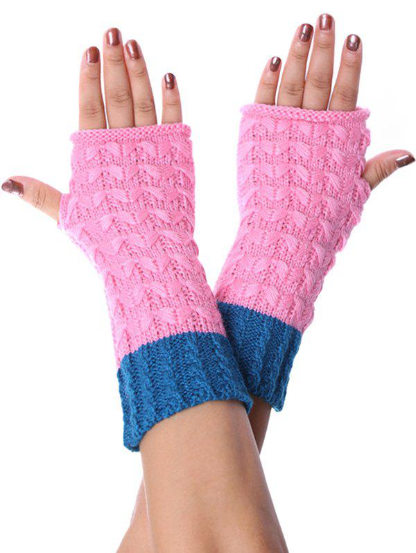 Outfits Color-blocking Fingerless Knitted Braid Gloves
