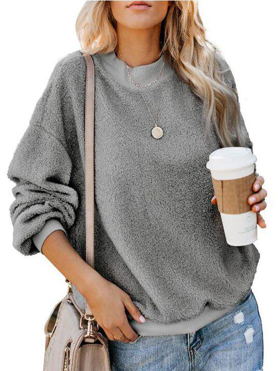 Hot Crew Neck Fluffy Boyfriend Teddy Sweatshirt