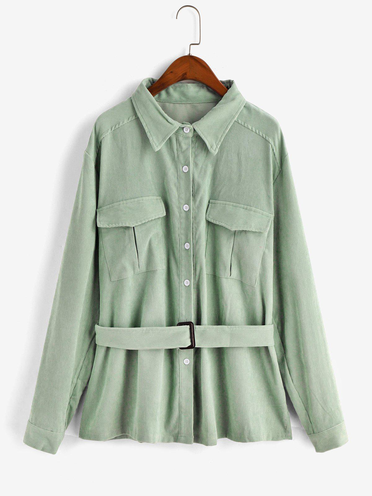Best Plus Size Button Up Belted Corduroy Shirt