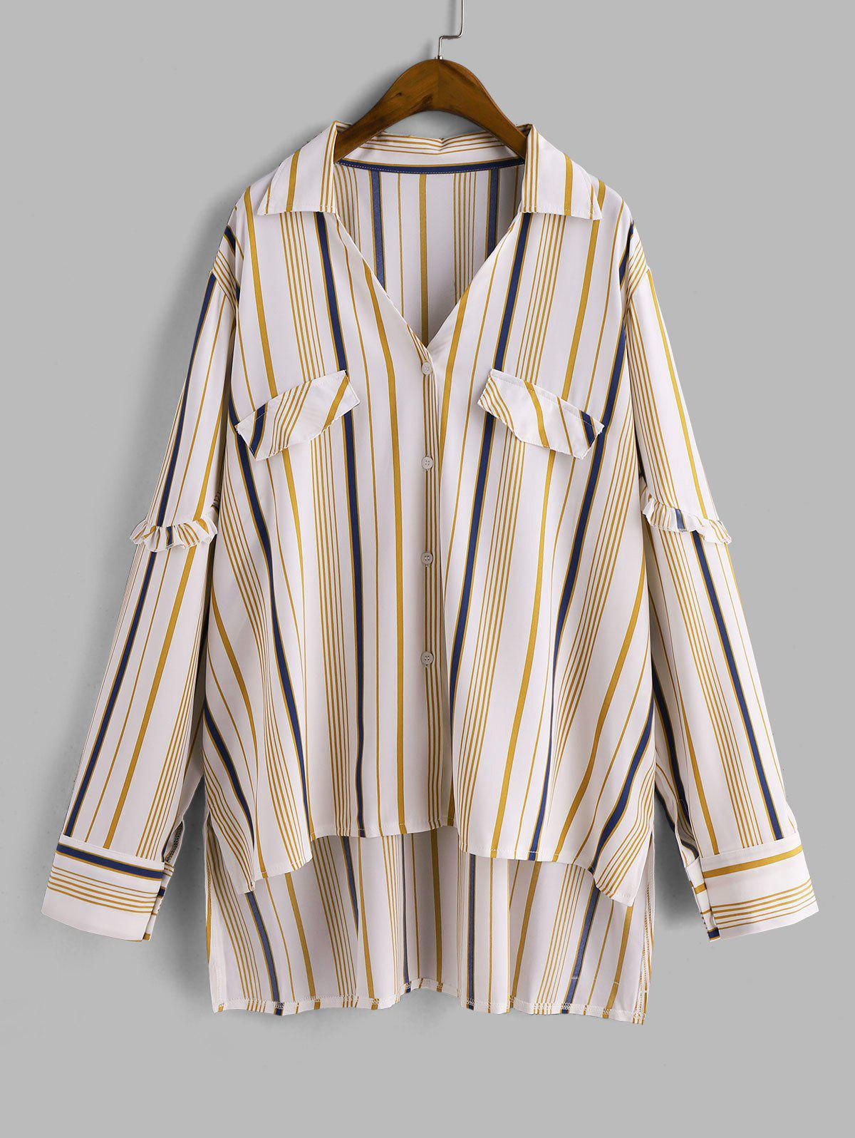 New Plus Size High Low Stripe Shirt