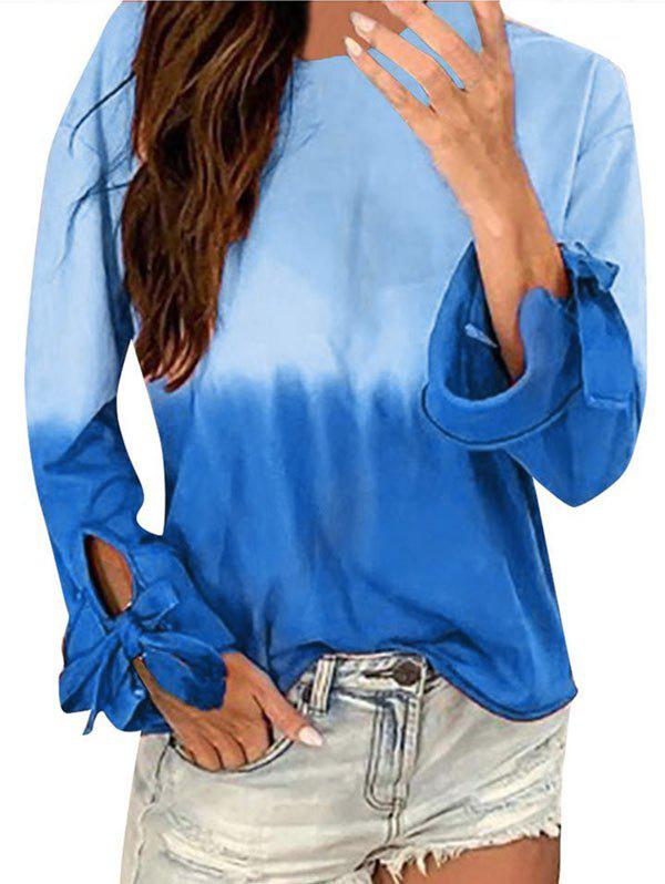 New Ombre Long Sleeve Tie Cuff Tee