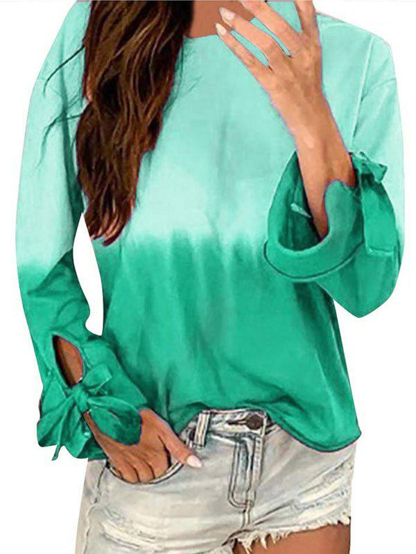 Latest Ombre Long Sleeve Tie Cuff Tee
