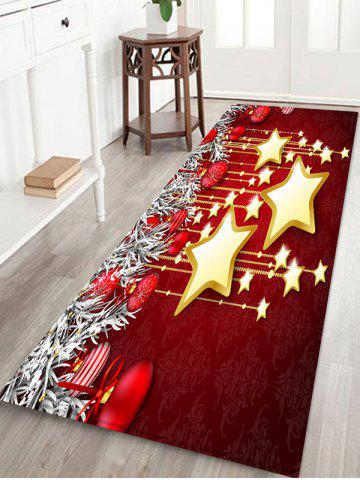 Christmas Balls and Stars Pattern Water Absorption Area Rug - MULTI-C - W24 X L71 INCH