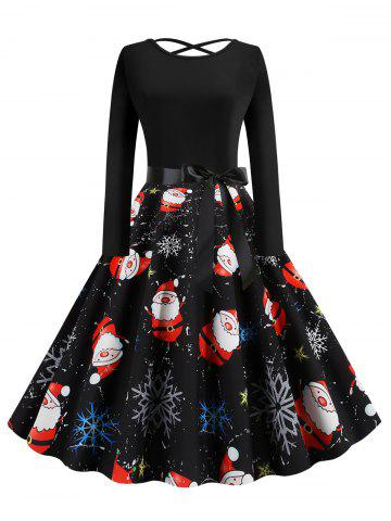 Lattice Christmas Santa Claus Snowflake Print Midi Dress