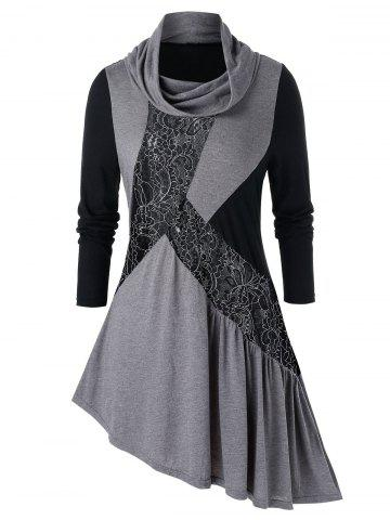 Plus Size Lace Panel Cowl Neck Asymmetrical Tunic Tee