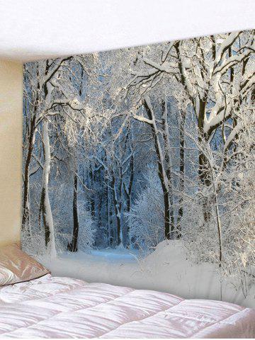 Snow Forest Trail Print Tapestry Wall Hanging Art Decoration - SILVER - W91 X L71 INCH