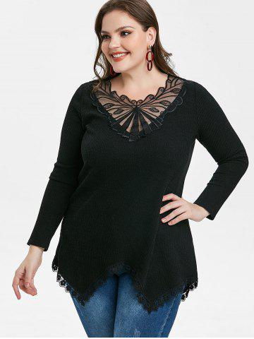 Plus Size Lace Panel Ribbed Knit Top