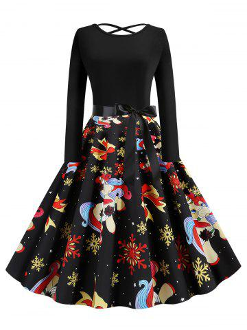 Lattice Christmas Unicorn Snowflake Bowknot Print Midi Dress
