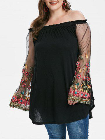 Plus Size Mesh Sleeve Embroidered Off Shoulder T-shirt