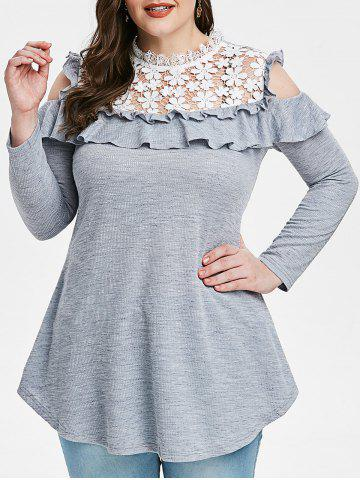 Plus Size Lace Insert Cold Shoulder Ruffle Ribbed T-shirt - GRAY - 5X