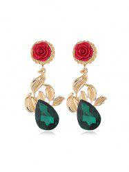 Rose Flower Leaf Teardrop Rhinestone Earrings -