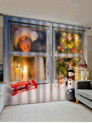 Christmas Candle Snowman Tree Pattern Window Curtains -