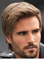 Synthetic Short Straight Side Part Men Wig -