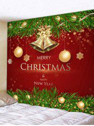 Christmas Balls Bells Greetings Print Tapestry Wall Hanging Art Decoration -