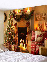 Christmas Tree Fireplace Printed Tapestry Wall Hanging Art Decor -