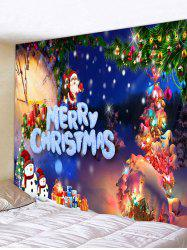 Christmas Tree Snowman Gifts Print Tapestry Wall Hanging Art Decoration -