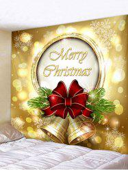 Christmas Bowknot Bells Print Tapestry Wall Hanging Art Decor -