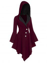 Hooded Asymmetrical Glitter Coat -