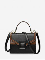 Contrast Color Square Buckle Retro Crossbody Bag -