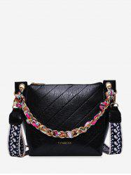 Slant Quilted Chain Embellished Bucket Bag -