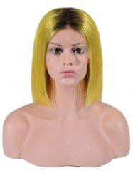 Bob Straight Center Part Ombre Human Hair Wig -
