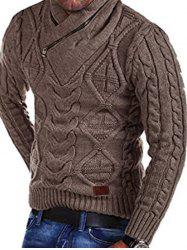 Cable Knit Zipper Turtleneck Sweater -