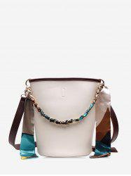 Silk Embellished Crossbody Bucket Bag -