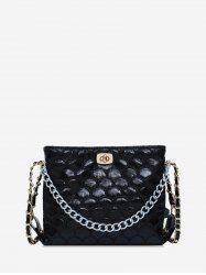 Mermaid Embroidery Chain Embellished Crossbody Bag -